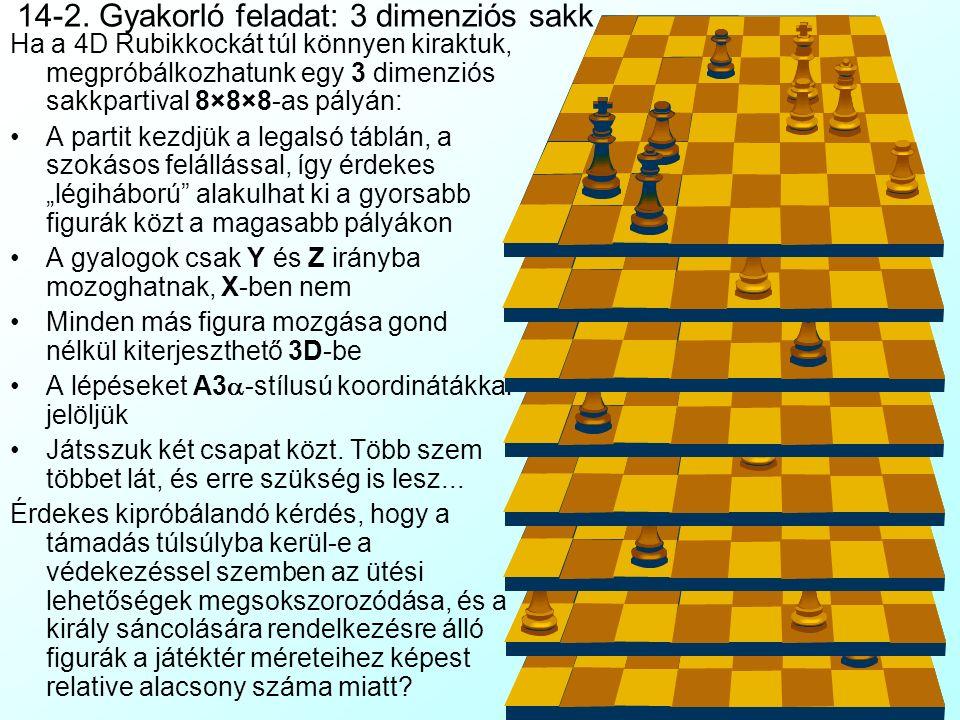 14-1. Gyakorló feladat: 4 dimenziós Rubik-kocka A velünk született (vagy hiányzó...) térlátási képesség mellett a sokdimenziós gondolkodás különböző g