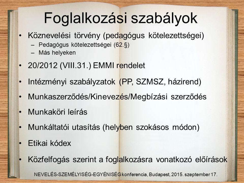 Foglalkozási szabályok Köznevelési törvény (pedagógus kötelezettségei) –Pedagógus kötelezettségei (62.§) –Más helyeken 20/2012 (VIII.31.) EMMI rendelet Intézményi szabályzatok (PP, SZMSZ, házirend) Munkaszerződés/Kinevezés/Megbízási szerződés Munkaköri leírás Munkáltatói utasítás (helyben szokásos módon) Etikai kódex Közfelfogás szerint a foglalkozásra vonatkozó előírások NEVELÉS-SZEMÉLYISÉG-EGYÉNISÉG konferencia, Budapest, 2015.