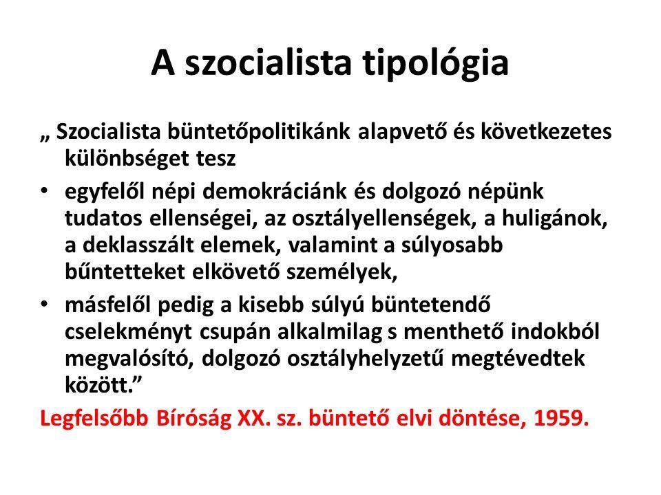 """A szocialista tipológia """" Szocialista büntetőpolitikánk alapvető és következetes különbséget tesz egyfelől népi demokráciánk és dolgozó népünk tudatos ellenségei, az osztályellenségek, a huligánok, a deklasszált elemek, valamint a súlyosabb bűntetteket elkövető személyek, másfelől pedig a kisebb súlyú büntetendő cselekményt csupán alkalmilag s menthető indokból megvalósító, dolgozó osztályhelyzetű megtévedtek között. Legfelsőbb Bíróság XX."""