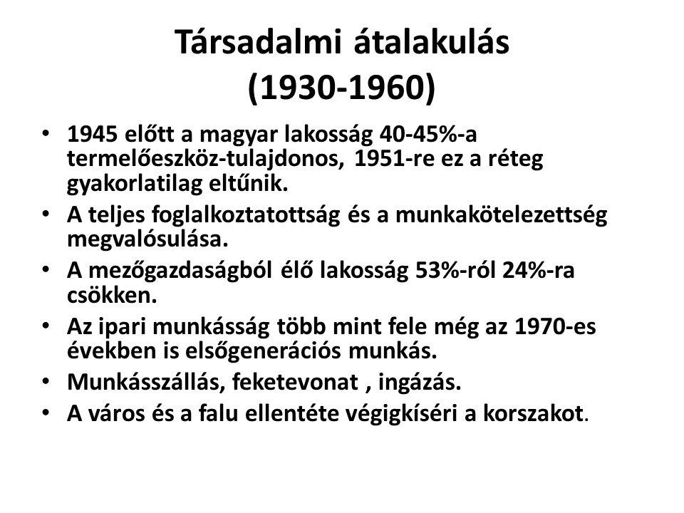 Társadalmi átalakulás (1930-1960) 1945 előtt a magyar lakosság 40-45%-a termelőeszköz-tulajdonos, 1951-re ez a réteg gyakorlatilag eltűnik.