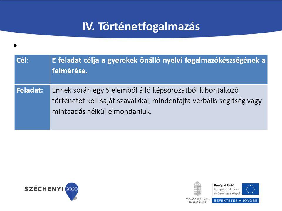 IV. Történetfogalmazás Cél: E feladat célja a gyerekek önálló nyelvi fogalmazókészségének a felmérése. Feladat:Ennek során egy 5 elemből álló képsoroz