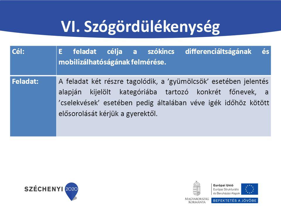 VI. Szógördülékenység Cél: E feladat célja a szókincs differenciáltságának és mobilizálhatóságának felmérése. Feladat:A feladat két részre tagolódik,