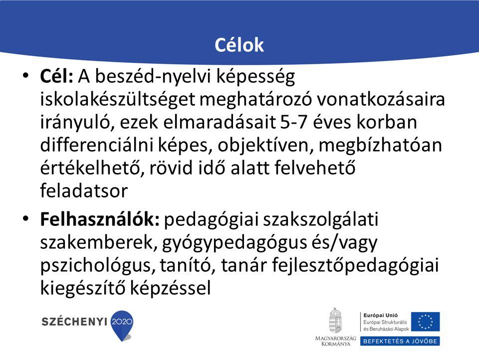 Célok Cél: A beszéd-nyelvi képesség iskolakészültséget meghatározó vonatkozásaira irányuló, ezek elmaradásait 5-7 éves korban differenciálni képes, ob