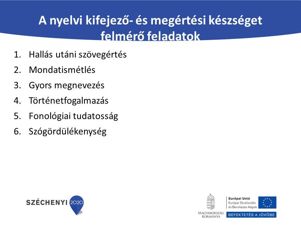 A nyelvi kifejező- és megértési készséget felmérő feladatok 1.Hallás utáni szövegértés 2.Mondatismétlés 3.Gyors megnevezés 4.Történetfogalmazás 5.Fono