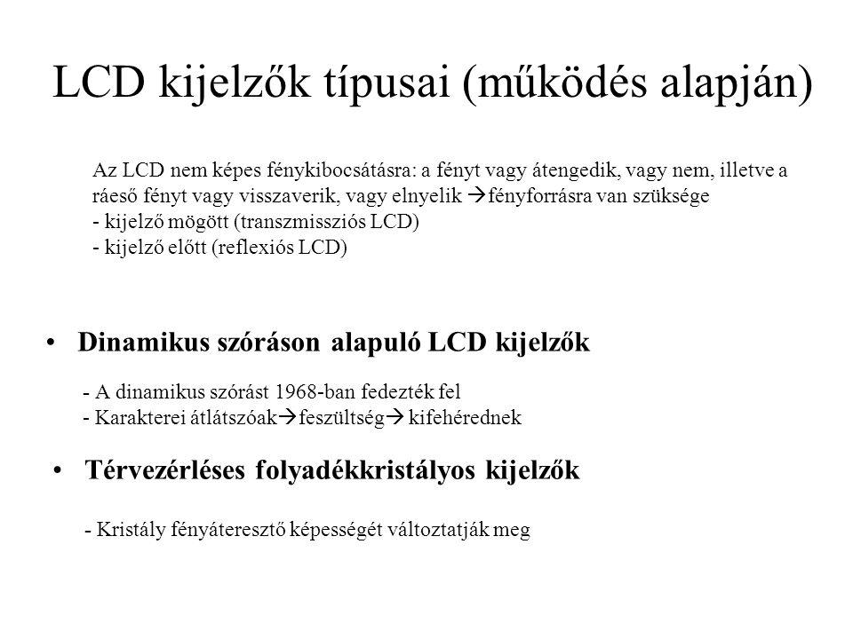 LCD kijelzők típusai (működés alapján) Dinamikus szóráson alapuló LCD kijelzők - A dinamikus szórást 1968-ban fedezték fel - Karakterei átlátszóak  f