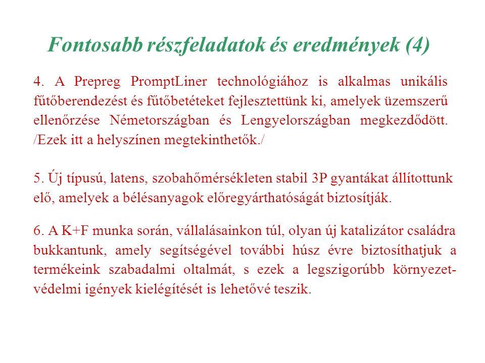 Fontosabb részfeladatok és eredmények (4) 4.