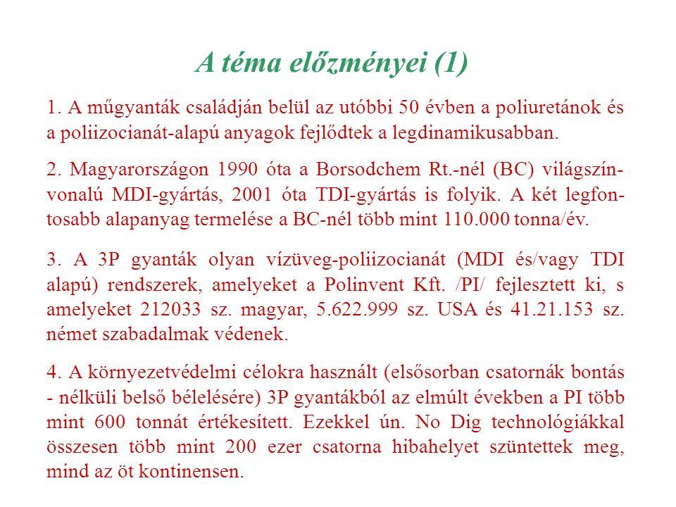 A téma előzményei (1) 1. A műgyanták családján belül az utóbbi 50 évben a poliuretánok és a poliizocianát-alapú anyagok fejlődtek a legdinamikusabban.