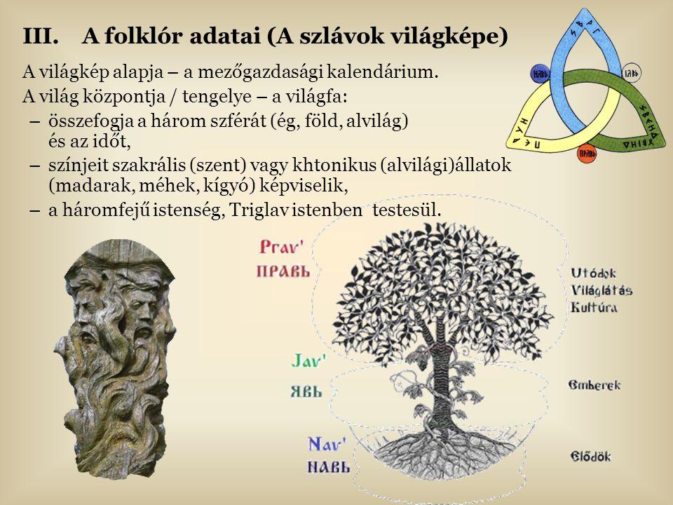III.A folklór adatai (A szlávok világképe) A világkép alapja – a mezőgazdasági kalendárium. A világ központja / tengelye – a világfa: –összefogja a há