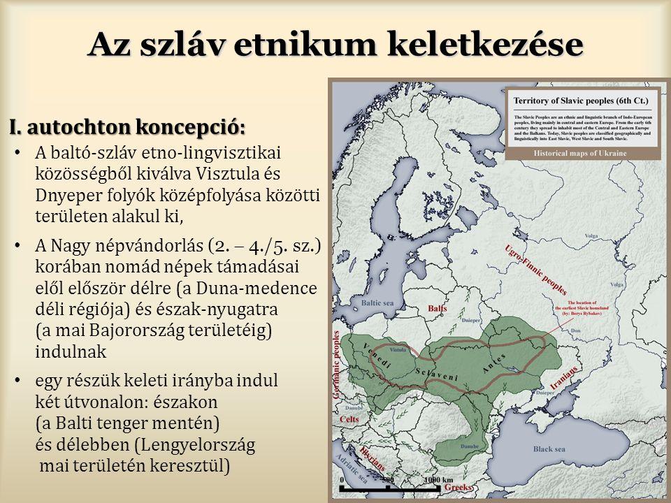 Az szláv etnikum keletkezése I. autochton koncepció: A baltó-szláv etno-lingvisztikai közösségből kiválva Visztula és Dnyeper folyók középfolyása közö