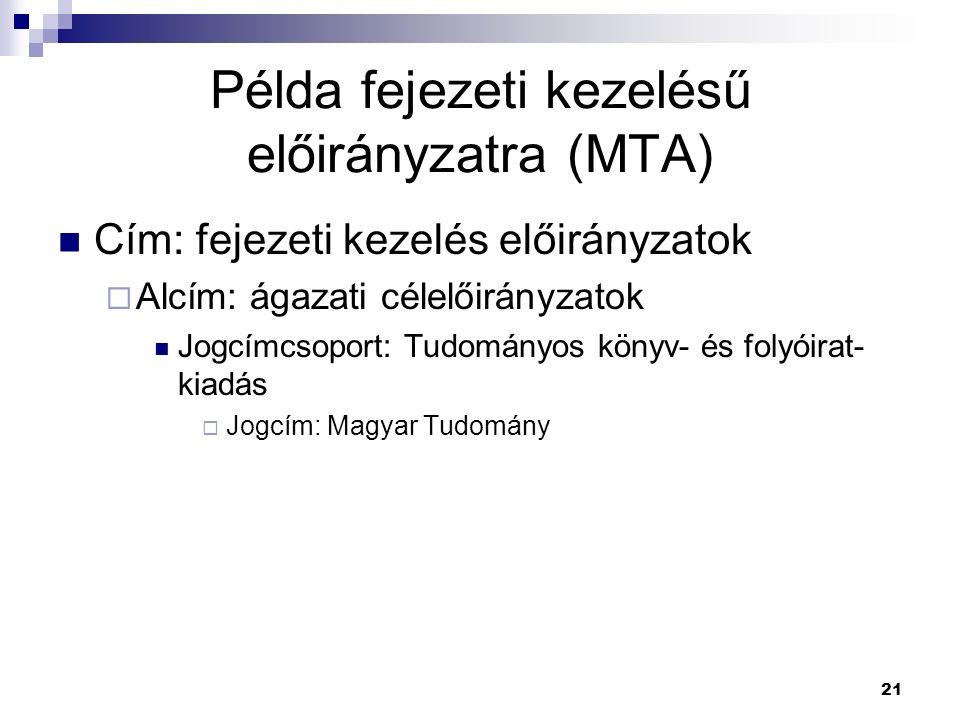 21 Példa fejezeti kezelésű előirányzatra (MTA) Cím: fejezeti kezelés előirányzatok  Alcím: ágazati célelőirányzatok Jogcímcsoport: Tudományos könyv-