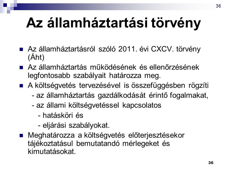 36 Az államháztartási törvény Az államháztartásról szóló 2011. évi CXCV. törvény (Áht) Az államháztartás működésének és ellenőrzésének legfontosabb sz