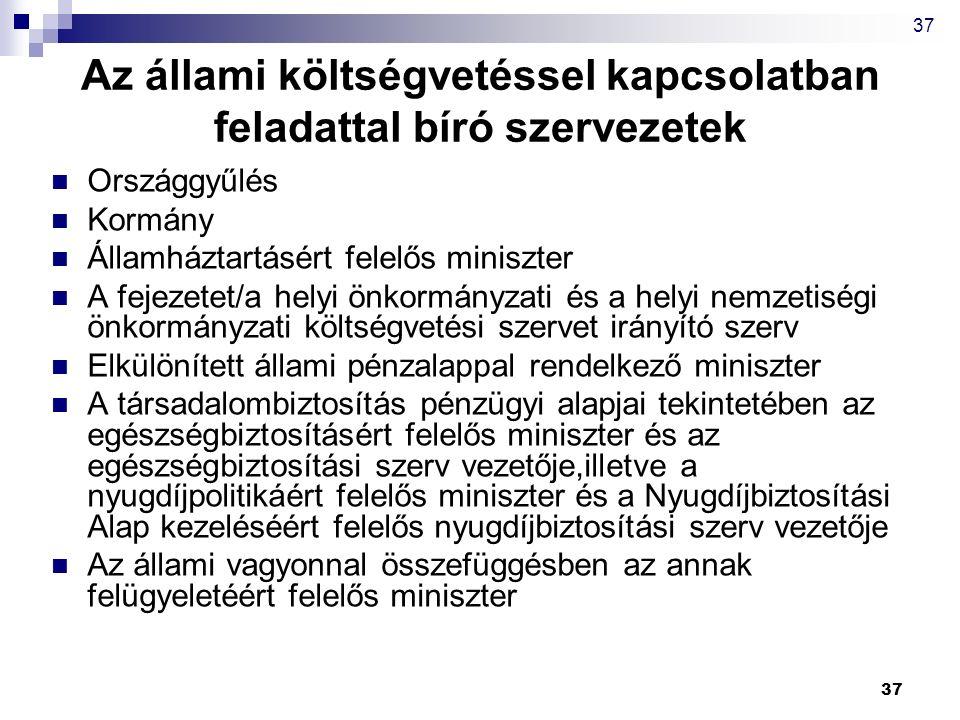 37 Az állami költségvetéssel kapcsolatban feladattal bíró szervezetek Országgyűlés Kormány Államháztartásért felelős miniszter A fejezetet/a helyi önk