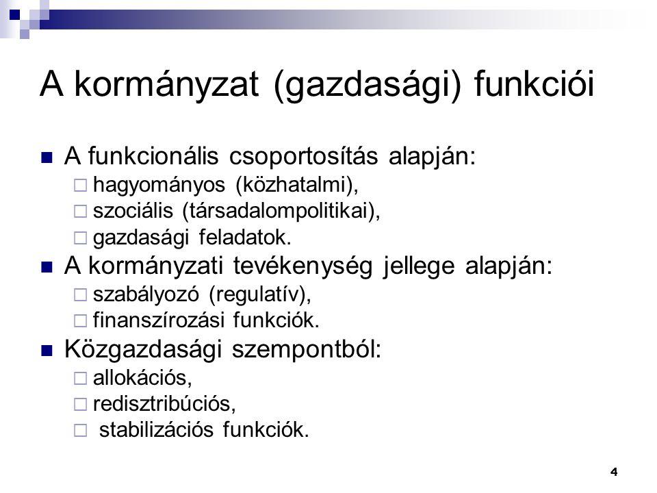 4 A kormányzat (gazdasági) funkciói A funkcionális csoportosítás alapján:  hagyományos (közhatalmi),  szociális (társadalompolitikai),  gazdasági f