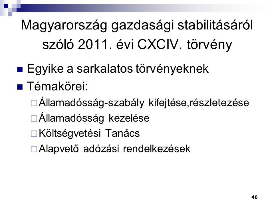 46 Magyarország gazdasági stabilitásáról szóló 2011. évi CXCIV. törvény Egyike a sarkalatos törvényeknek Témakörei:  Államadósság-szabály kifejtése,r