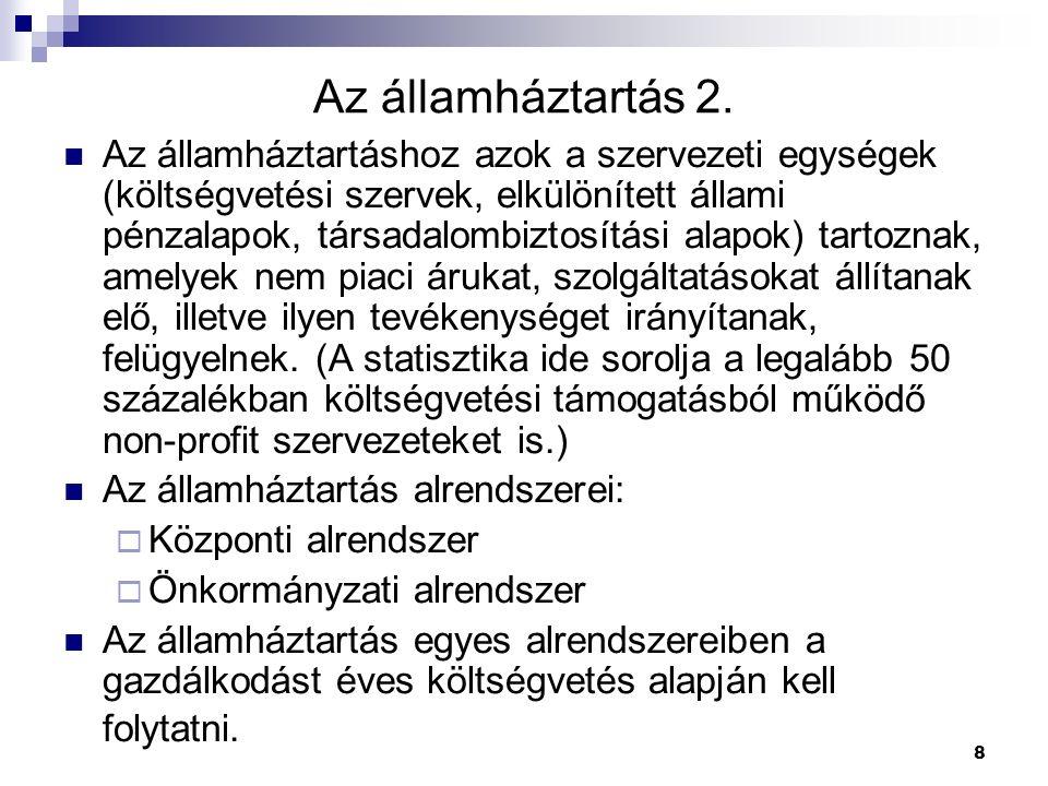 8 Az államháztartás 2. Az államháztartáshoz azok a szervezeti egységek (költségvetési szervek, elkülönített állami pénzalapok, társadalombiztosítási a
