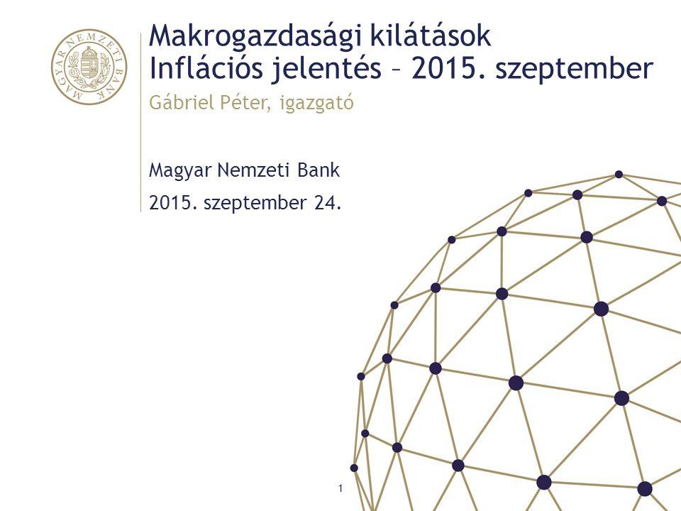 Makrogazdasági kilátások Inflációs jelentés – 2015. szeptember Magyar Nemzeti Bank Gábriel Péter, igazgató 1 2015. szeptember 24.
