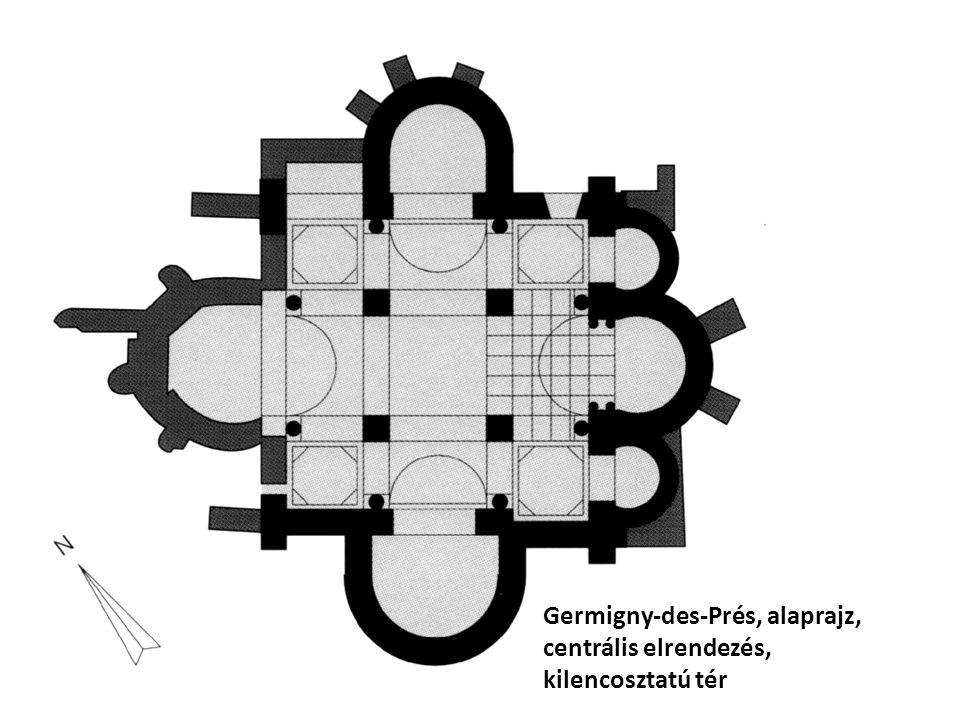 Germigny-des-Prés, alaprajz, centrális elrendezés, kilencosztatú tér