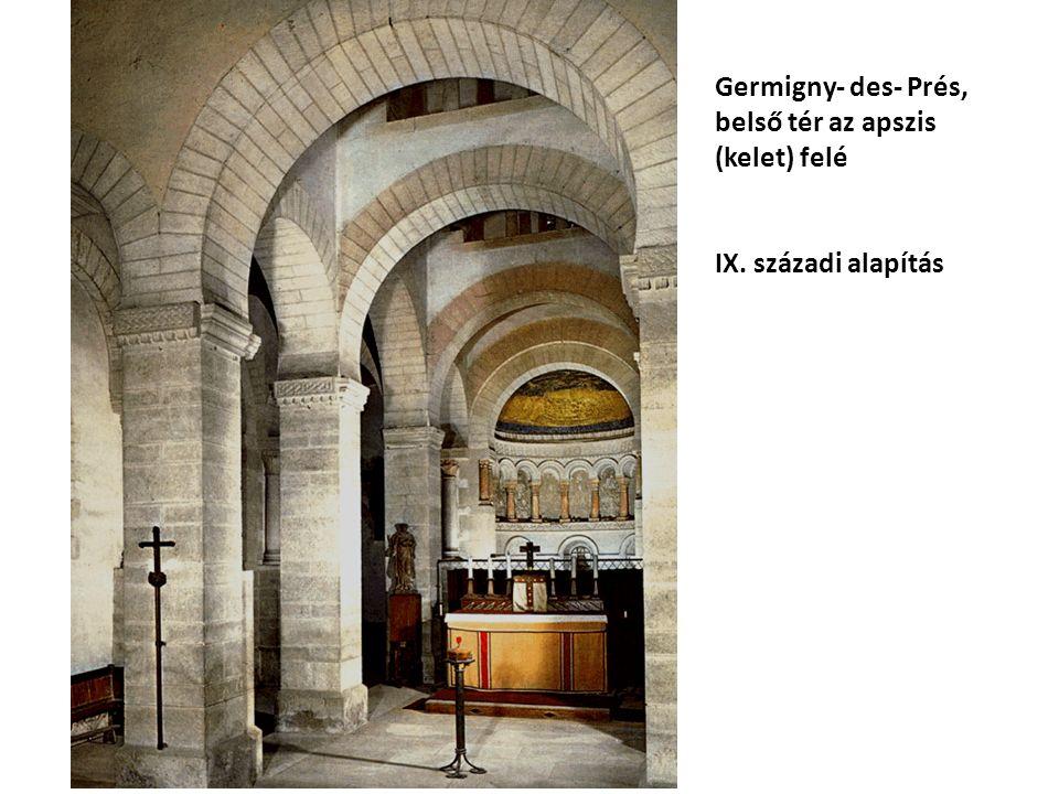 Germigny- des- Prés, belső tér az apszis (kelet) felé IX. századi alapítás