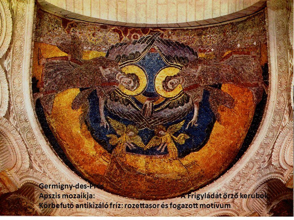 Germigny-des-Prés Apszis mozaikja: A Frigyládát őrző kerubok. Körbefutó antikizáló fríz: rozettasor és fogazott motívum