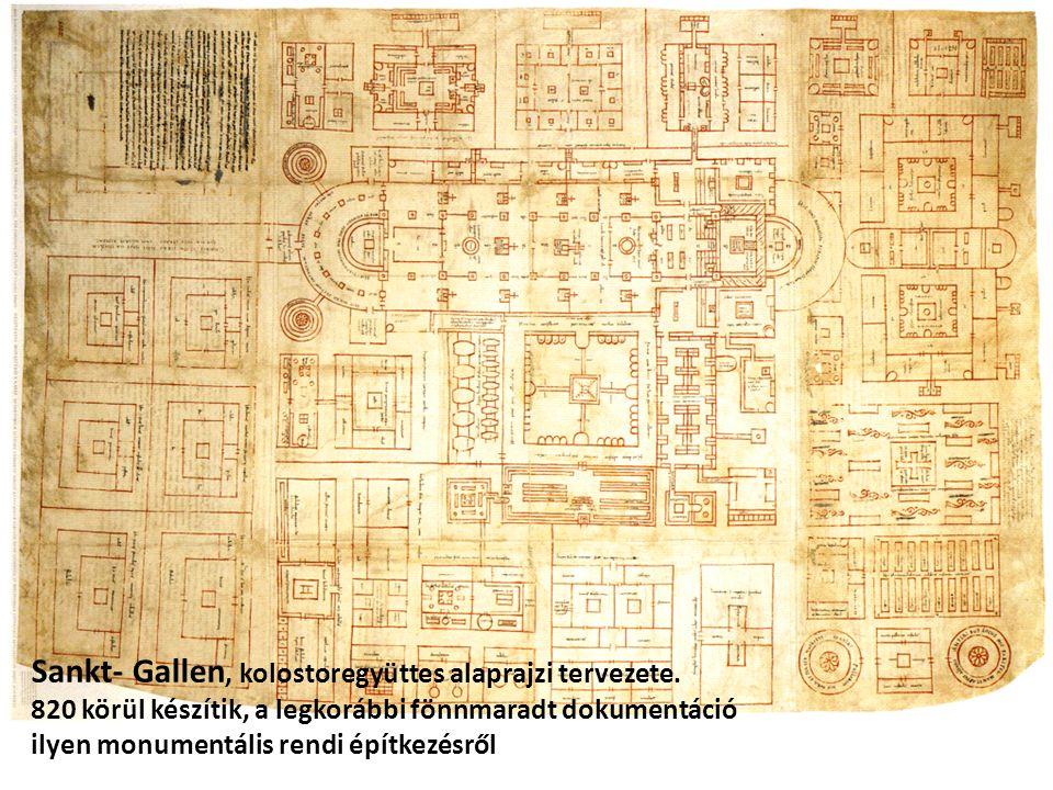Sankt- Gallen, kolostoregyüttes alaprajzi tervezete. 820 körül készítik, a legkorábbi fönnmaradt dokumentáció ilyen monumentális rendi építkezésről