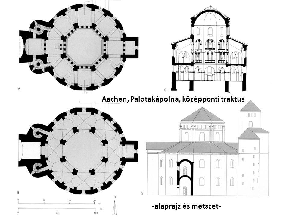 Aachen, Palotakápolna, középponti traktus -alaprajz és metszet-
