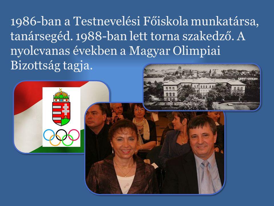 1986-ban a Testnevelési Főiskola munkatársa, tanársegéd. 1988-ban lett torna szakedző. A nyolcvanas években a Magyar Olimpiai Bizottság tagja.