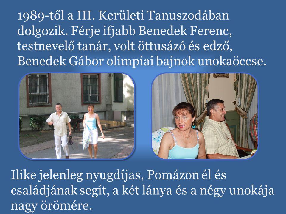1989-től a III. Kerületi Tanuszodában dolgozik. Férje ifjabb Benedek Ferenc, testnevelő tanár, volt öttusázó és edző, Benedek Gábor olimpiai bajnok un