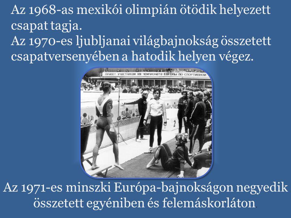 Az 1968-as mexikói olimpián ötödik helyezett csapat tagja. Az 1970-es ljubljanai világbajnokság összetett csapatversenyében a hatodik helyen végez. Az
