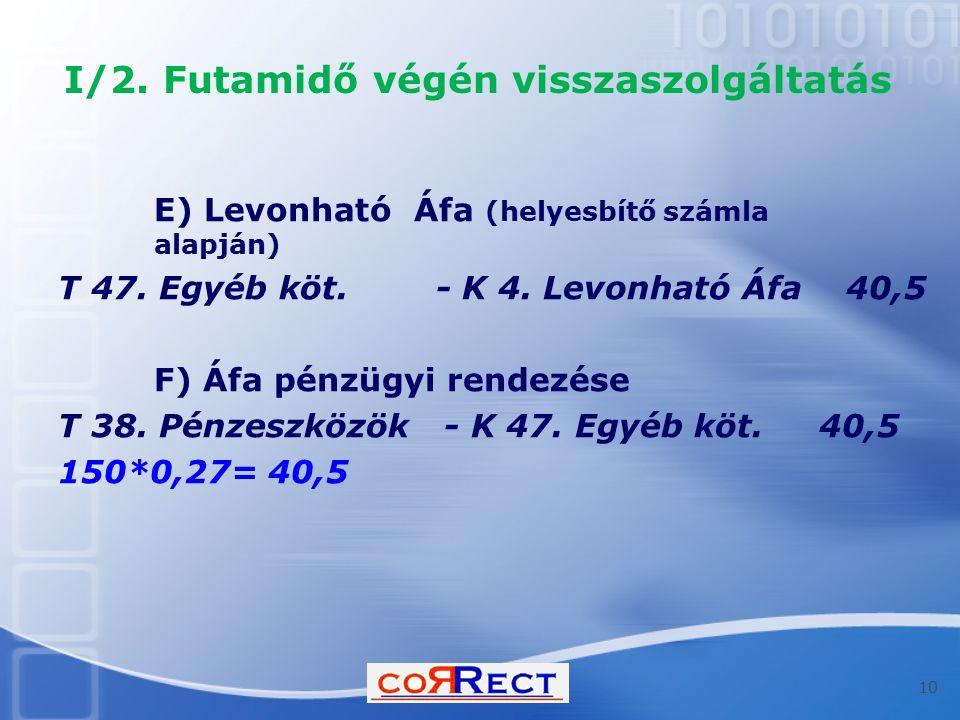 I/2. Futamidő végén visszaszolgáltatás E) Levonható Áfa (helyesbítő számla alapján) T 47.