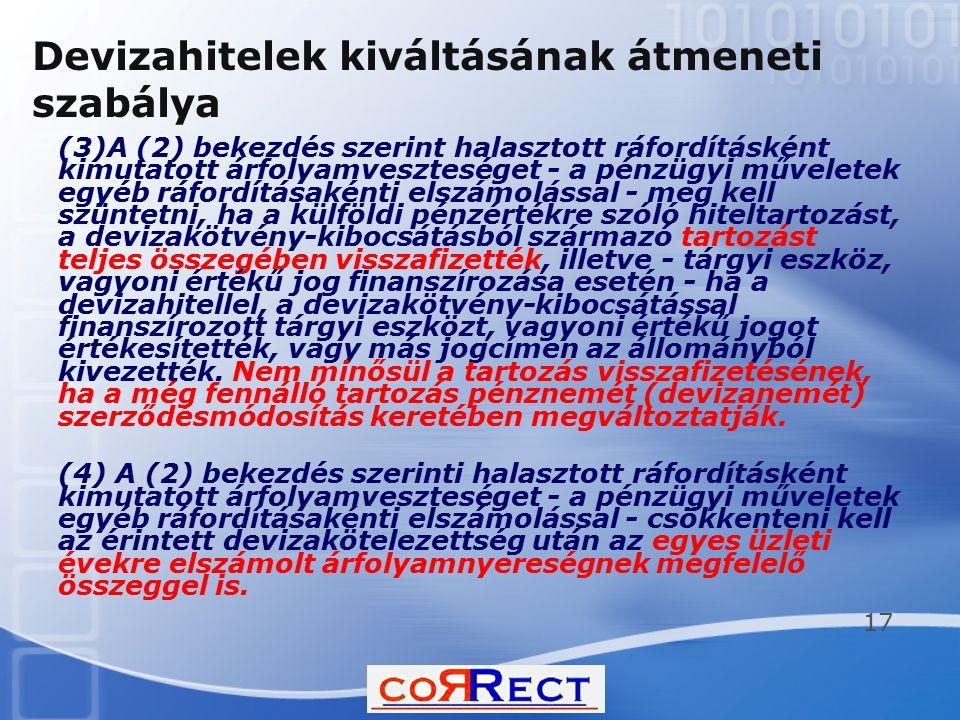 Devizahitelek kiváltásának átmeneti szabálya (3)A (2) bekezdés szerint halasztott ráfordításként kimutatott árfolyamveszteséget - a pénzügyi műveletek