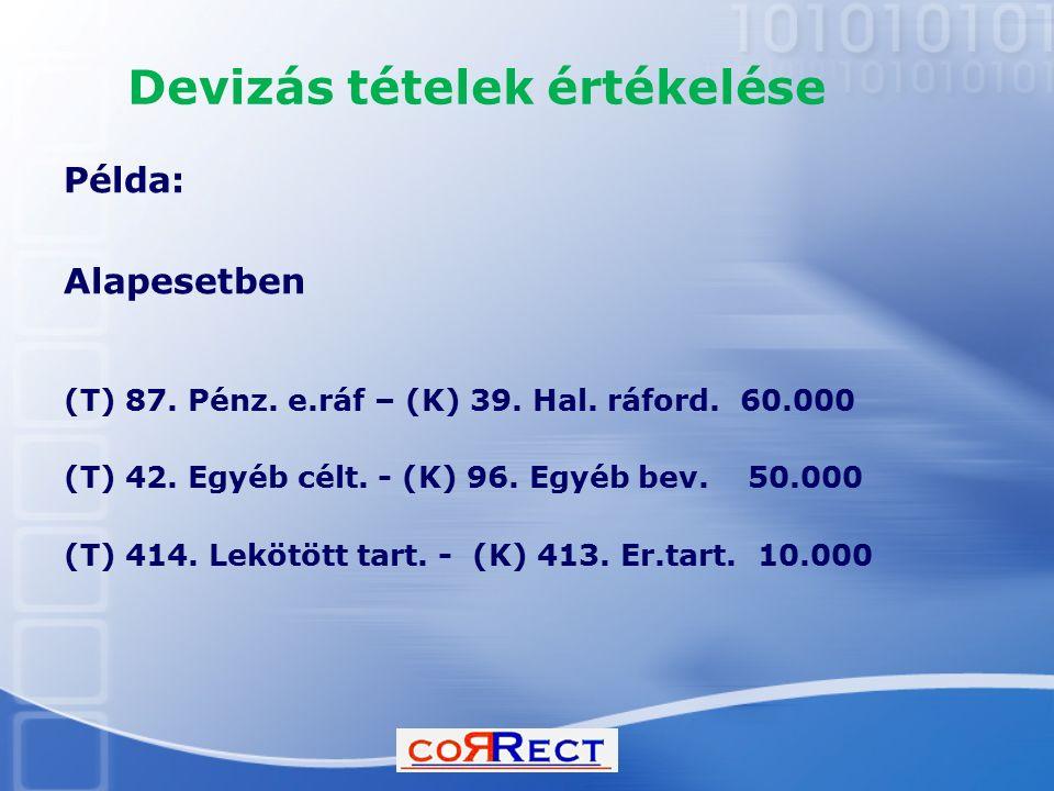Devizás tételek értékelése Példa: Alapesetben (T) 87. Pénz. e.ráf – (K) 39. Hal. ráford. 60.000 (T) 42. Egyéb célt. - (K) 96. Egyéb bev. 50.000 (T) 41