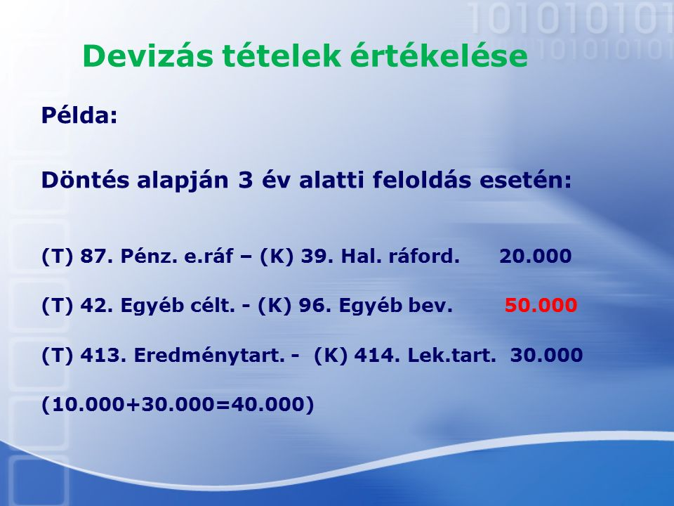 Devizás tételek értékelése Példa: Döntés alapján 3 év alatti feloldás esetén: (T) 87. Pénz. e.ráf – (K) 39. Hal. ráford. 20.000 (T) 42. Egyéb célt. -