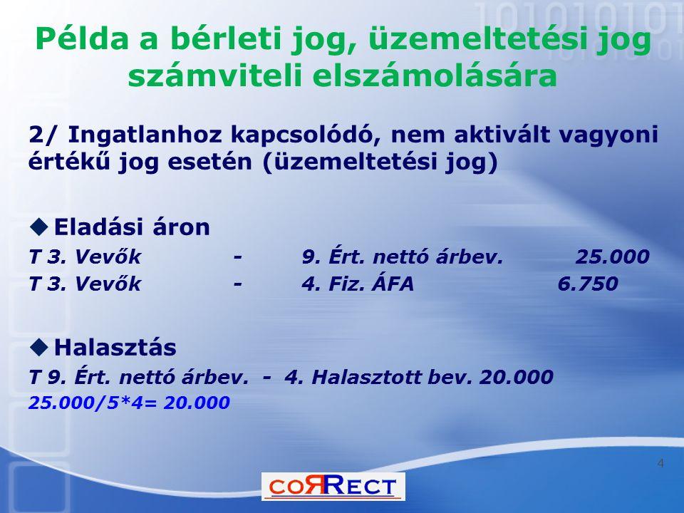 Példa a bérleti jog, üzemeltetési jog számviteli elszámolására 2/ Ingatlanhoz kapcsolódó, nem aktivált vagyoni értékű jog esetén (üzemeltetési jog) 