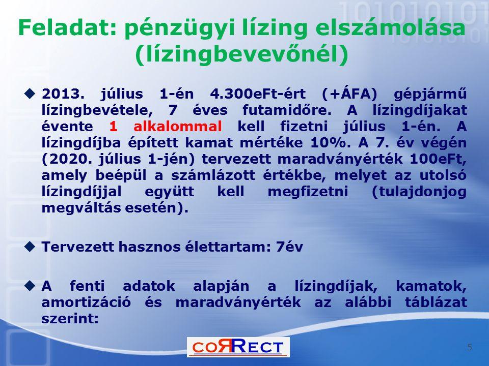 Feladat: pénzügyi lízing elszámolása (lízingbevevőnél)  2013. július 1-én 4.300eFt-ért (+ÁFA) gépjármű lízingbevétele, 7 éves futamidőre. A lízingdíj