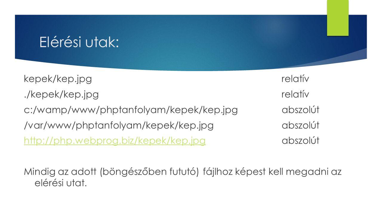 Elérési utak: kepek/kep.jpgrelatív./kepek/kep.jpgrelatív c:/wamp/www/phptanfolyam/kepek/kep.jpgabszolút /var/www/phptanfolyam/kepek/kep.jpgabszolút http://php.webprog.biz/kepek/kep.jpghttp://php.webprog.biz/kepek/kep.jpgabszolút Mindig az adott (böngészőben fututó) fájlhoz képest kell megadni az elérési utat.