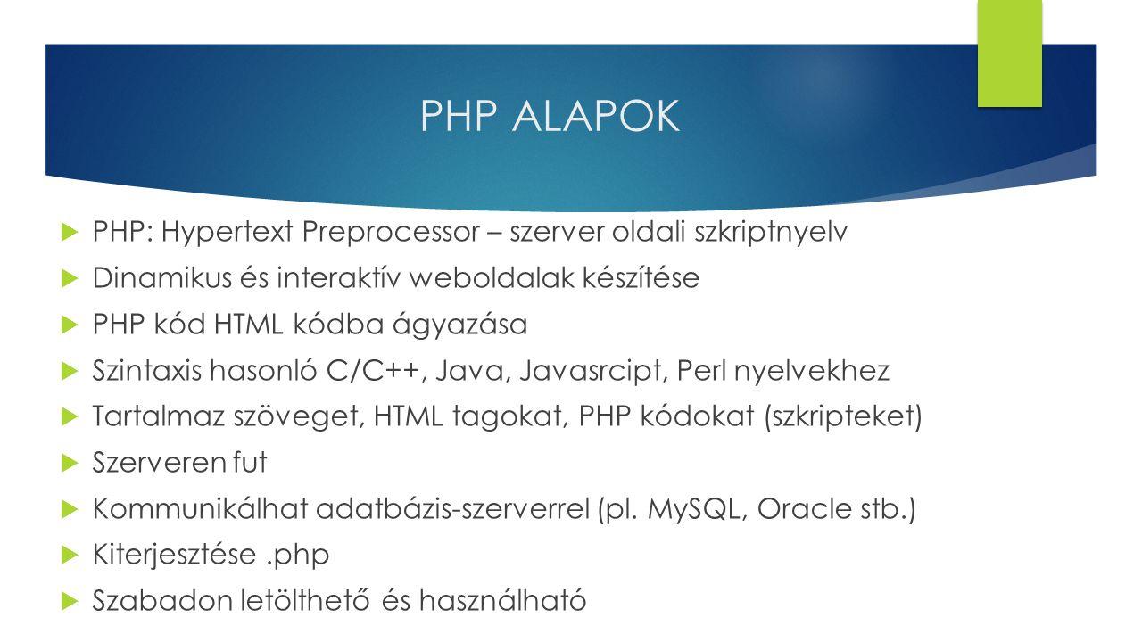 PHP ALAPOK  PHP: Hypertext Preprocessor – szerver oldali szkriptnyelv  Dinamikus és interaktív weboldalak készítése  PHP kód HTML kódba ágyazása 