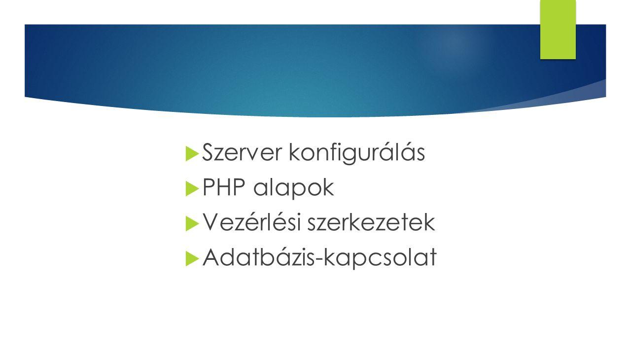 PHP ALAPOK  PHP: Hypertext Preprocessor – szerver oldali szkriptnyelv  Dinamikus és interaktív weboldalak készítése  PHP kód HTML kódba ágyazása  Szintaxis hasonló C/C++, Java, Javasrcipt, Perl nyelvekhez  Tartalmaz szöveget, HTML tagokat, PHP kódokat (szkripteket)  Szerveren fut  Kommunikálhat adatbázis-szerverrel (pl.