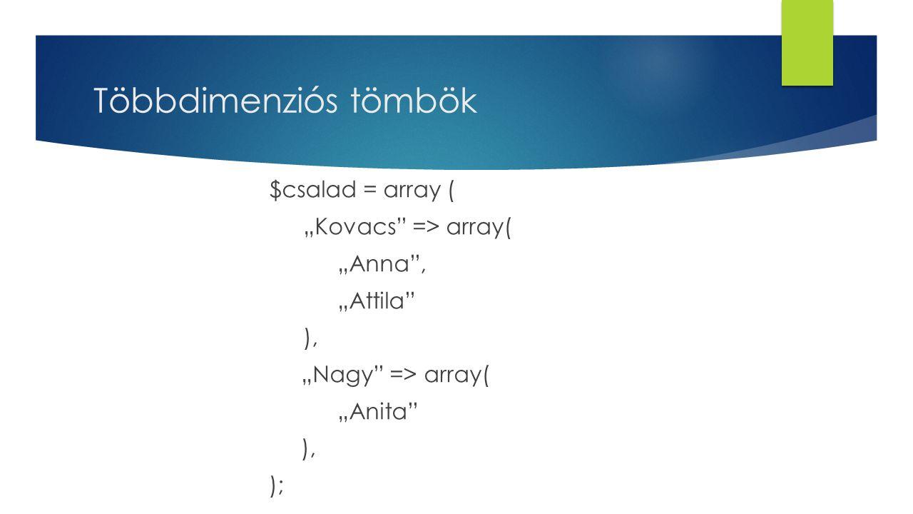 """Többdimenziós tömbök $csalad = array ( """"Kovacs"""" => array( """"Anna"""", """"Attila"""" ), """"Nagy"""" => array( """"Anita"""" ), );"""