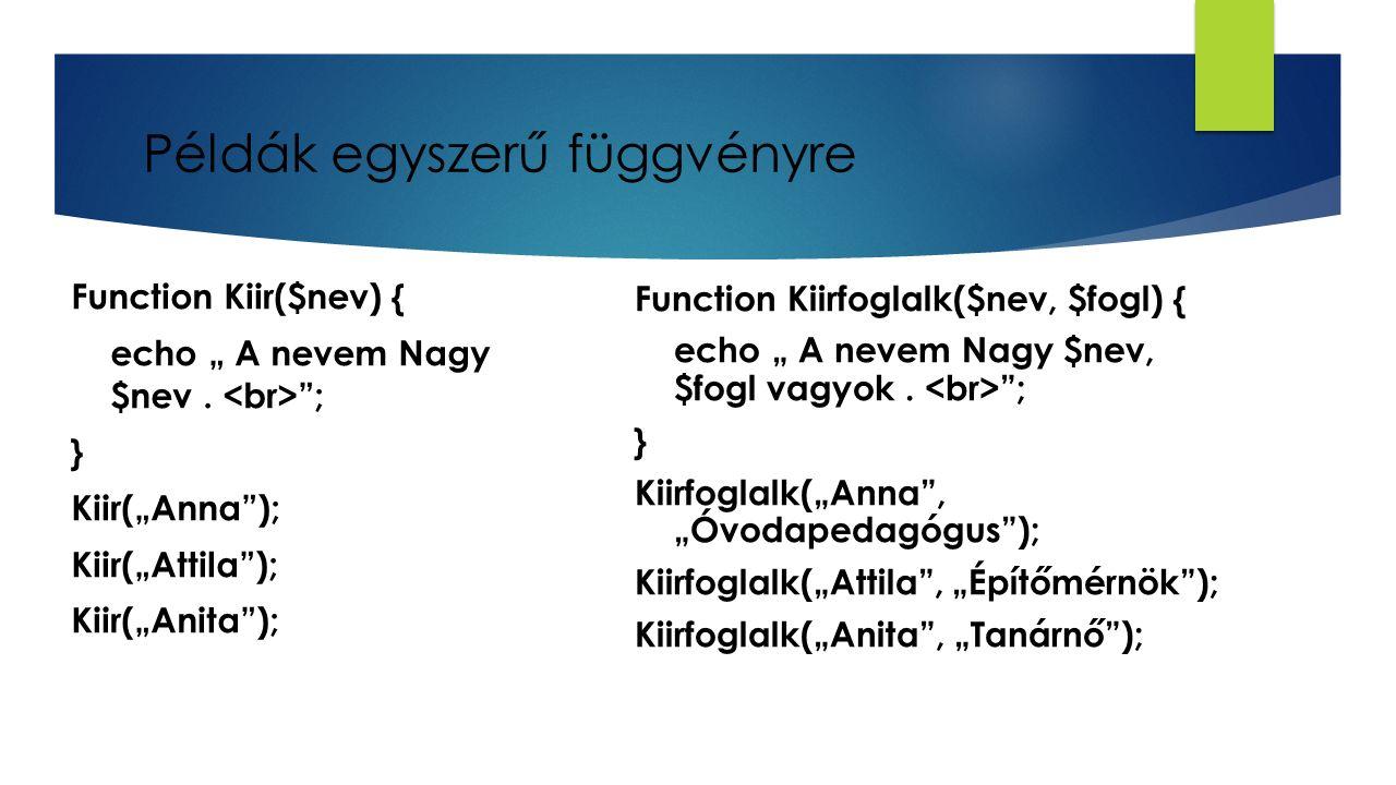 "Példák egyszerű függvényre Function Kiir($nev) { echo "" A nevem Nagy $nev. ""; } Kiir(""Anna""); Kiir(""Attila""); Kiir(""Anita""); Function Kiirfoglalk($nev"