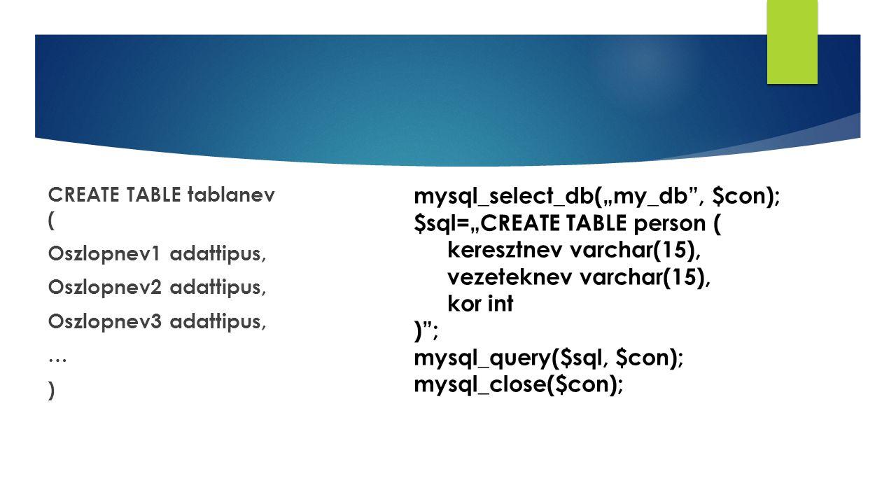 "CREATE TABLE tablanev ( Oszlopnev1 adattipus, Oszlopnev2 adattipus, Oszlopnev3 adattipus, … ) mysql_select_db(""my_db , $con); $sql=""CREATE TABLE person ( keresztnev varchar(15), vezeteknev varchar(15), kor int ) ; mysql_query($sql, $con); mysql_close($con);"