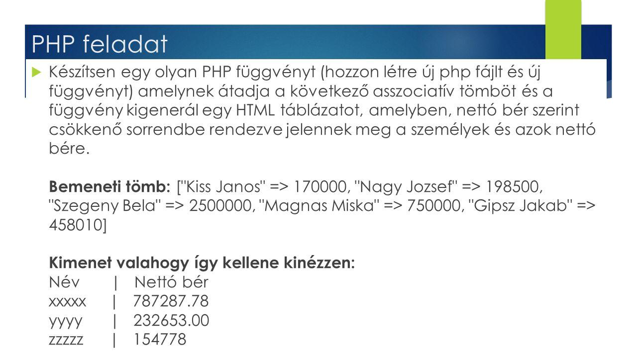 PHP feladat  Készítsen egy olyan PHP függvényt (hozzon létre új php fájlt és új függvényt) amelynek átadja a következő asszociatív tömböt és a függvé
