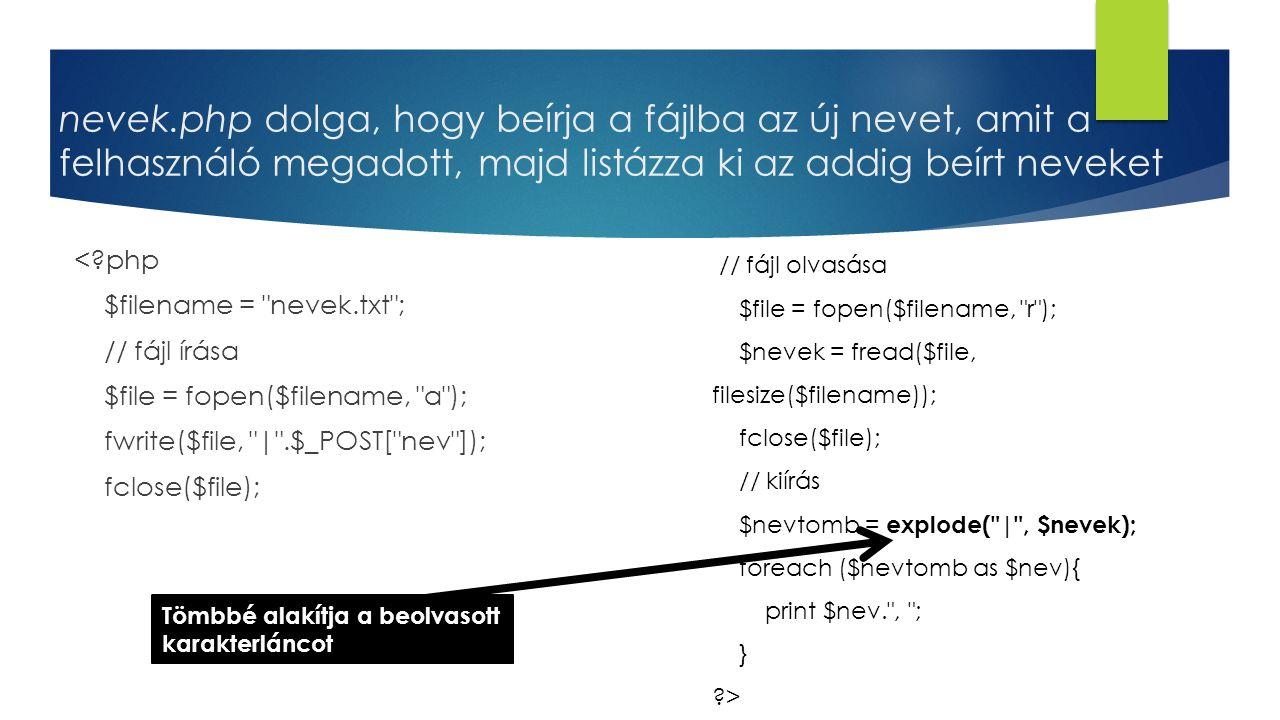 nevek.php dolga, hogy beírja a fájlba az új nevet, amit a felhasználó megadott, majd listázza ki az addig beírt neveket <?php $filename =
