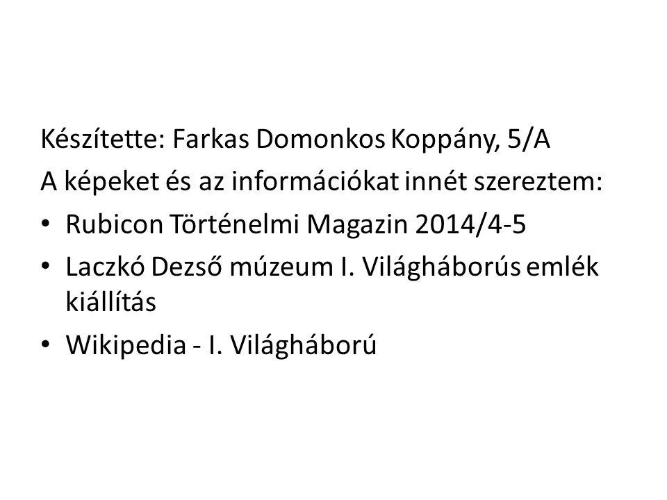 Készítette: Farkas Domonkos Koppány, 5/A A képeket és az információkat innét szereztem: Rubicon Történelmi Magazin 2014/4-5 Laczkó Dezső múzeum I. Vil