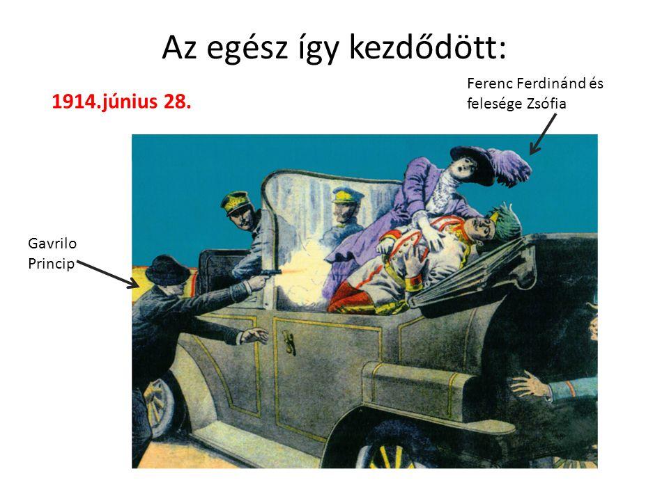 Az egész így kezdődött: Gavrilo Princip Ferenc Ferdinánd és felesége Zsófia 1914.június 28.