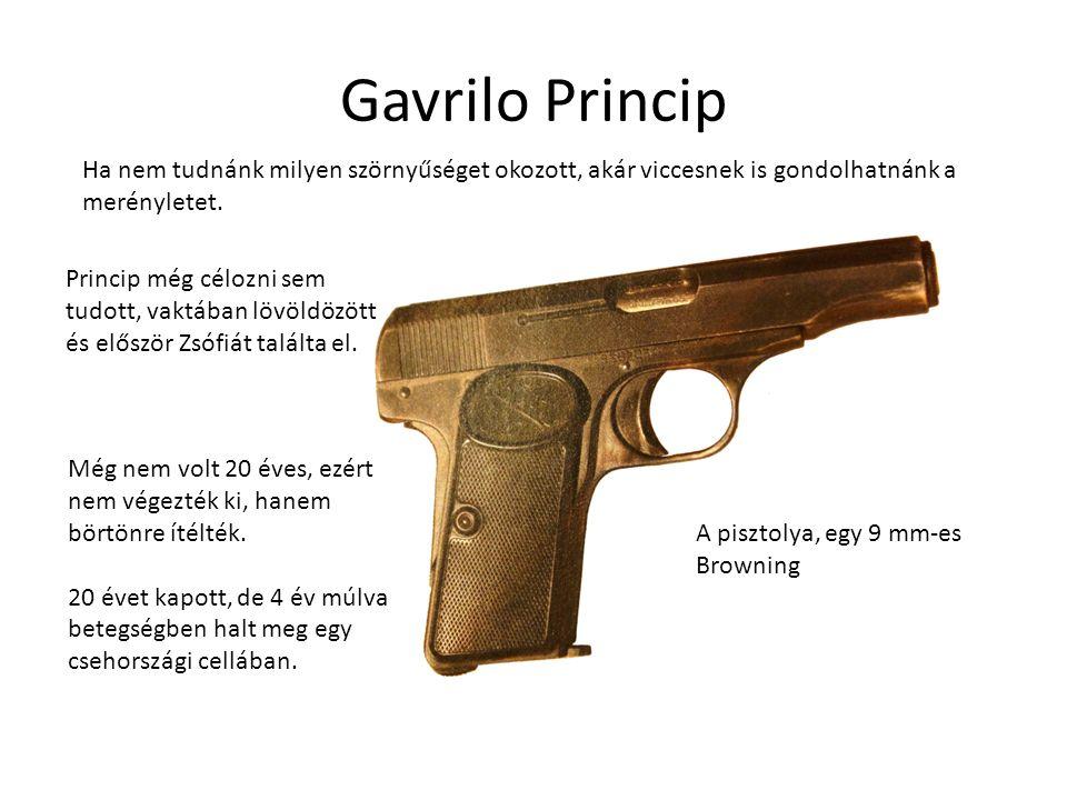 Gavrilo Princip Ha nem tudnánk milyen szörnyűséget okozott, akár viccesnek is gondolhatnánk a merényletet. A pisztolya, egy 9 mm-es Browning Még nem v