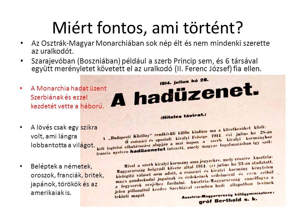 Miért fontos, ami történt? Az Osztrák-Magyar Monarchiában sok nép élt és nem mindenki szerette az uralkodót. Szarajevóban (Boszniában) például a szerb