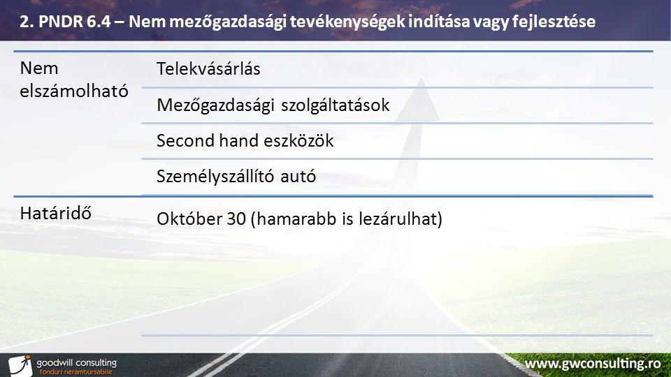 Nem elszámolható Telekvásárlás Mezőgazdasági szolgáltatások Second hand eszközök Személyszállító autó Határidő Október 30 (hamarabb is lezárulhat) 2.