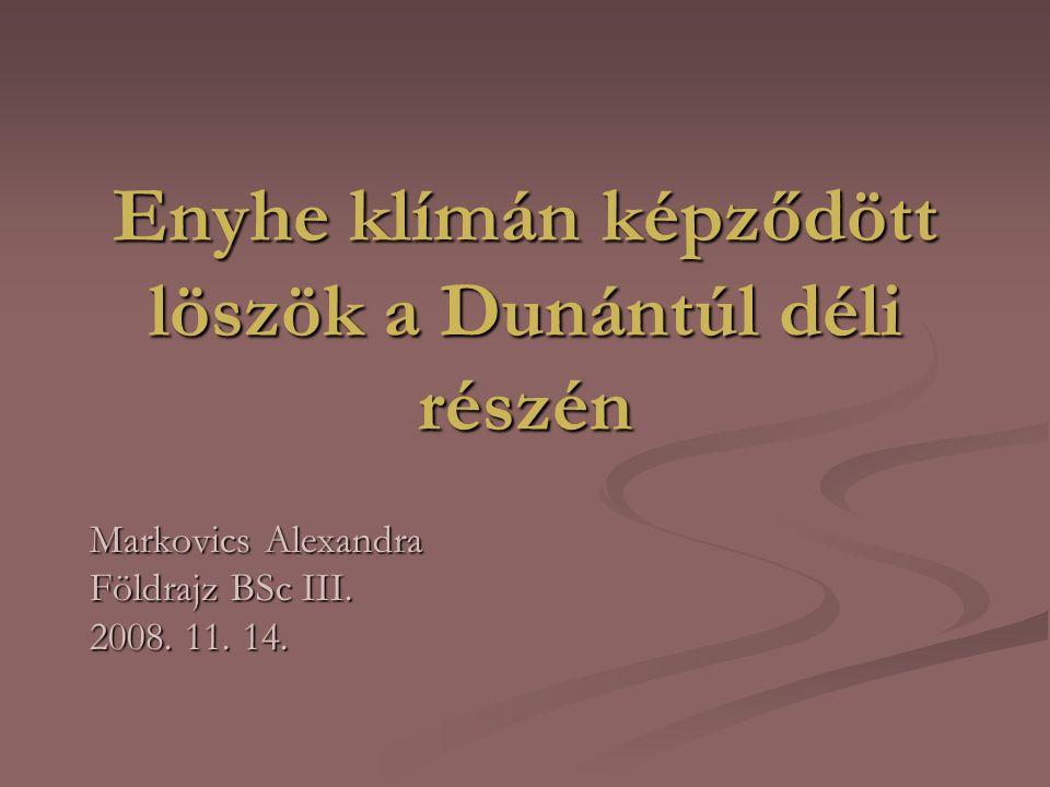 Enyhe klímán képződött löszök a Dunántúl déli részén Markovics Alexandra Földrajz BSc III.