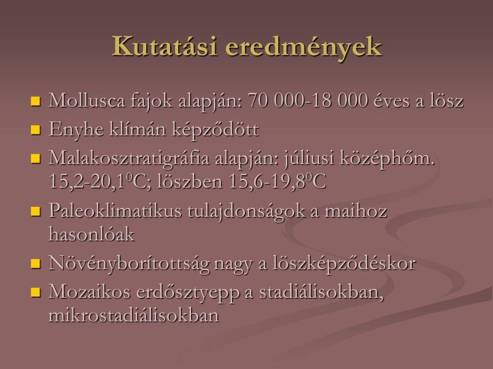 Kutatási eredmények Mollusca fajok alapján: 70 000-18 000 éves a lösz Mollusca fajok alapján: 70 000-18 000 éves a lösz Enyhe klímán képződött Enyhe klímán képződött Malakosztratigráfia alapján: júliusi középhőm.