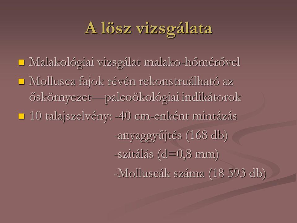 A vizsgált terület Dél—Baranyai-dombság és Dél—Baranyai-dombság és Nyárád—Harkányi-löszvidék Nyárád—Harkányi-löszvidék Magyarország legdélebbi negyedidőszaki üledékes területe Magyarország legdélebbi negyedidőszaki üledékes területe Klíma: -óceáni és erdősztyepp klímaterület átmeneti zónája Klíma: -óceáni és erdősztyepp klímaterület átmeneti zónája -mérsékelten meleg és nedves -mérsékelten meleg és nedves -mediterránra jellemző napfénytartam és csapadék -mediterránra jellemző napfénytartam és csapadék